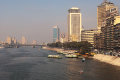 The Nile veiw in Cairo, 6 October Bridge. The Nile River in the city center view, Cairo, Egypt, 6 October Bridge Stock Images