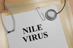 Nile Virus - medical concept. 3D illustration of NILE VIRUS title on a document Stock Images