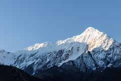 Nilgiri Himal view from Jomsom Airport during sunset royalty free stock images