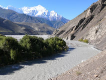 Nilgiri and Kali Gandaki river from Kagbeni, Nepal Stock Image