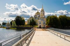 Bridge to the  Stolobny Island in Lake Seliger