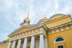 Nilo-Stolobensky Monastery in Tver region, Russia. Epiphany Cathedral, closeup view. Travel landscape. Nilo-Stolobensky Monastery in Tver region, Russia royalty free stock photos