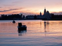 Nilov Monastery on dusk / Lake Seliger, Russia Stock Images