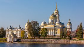 Nilov Monastery is situated on Stolobny Island in Lake Seliger. stock photography