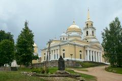尼罗牧师修道院Nilov和雕塑  特维尔地区 russ 库存图片