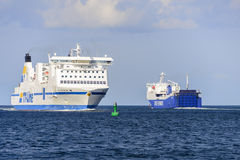 The Nils Holgersson meets the Anglia Seaways at sea Royalty Free Stock Photography