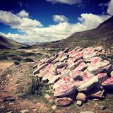 Nima. The rocks of prayer in Tibet royalty free stock photos