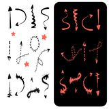 set of black and coral arrows royalty free illustration