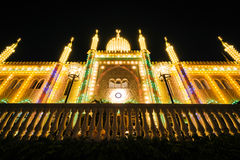 Nimbu pałac przy nocą, przy Tivoli ogródami w Kopenhaga, Dani Zdjęcie Royalty Free