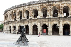 Nimeño II statue in front of arena Nîmes, France Royalty Free Stock Photography