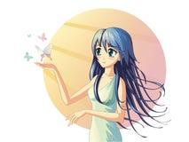 Nime meisje Ð  met vlinders Stock Afbeelding