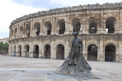 Nimeño II statue in front of Nîmes arena, France Royalty Free Stock Photos