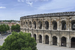 Nimes Arena. In Southern France. Though smaller in scale than Rome's Colesseum,  is the most well preserved Roman arena in the world Royalty Free Stock Photos