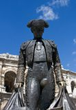 Nimes Colosseum - matador statue. A statue cast in metal outside the Colosseum in Nimes, southern France Royalty Free Stock Photos