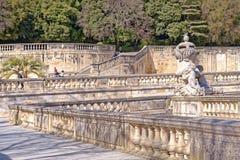 Nimes, fountain gardens stock photo