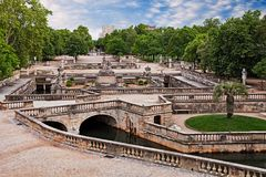 Nimes, France: the Gardens of the Fountain stock photo