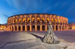 Nimes, France. Roman amphitheater at dusk royalty free stock photography