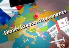 Nimes Roman Monuments city travel and tourism destination concept. France flag and Nimes Roman Monuments city on map. France. Travel concept map background vector illustration