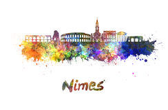 Nimes skyline in watercolor Royalty Free Stock Image