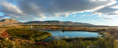 Nimez Lagoon. At golden hour Stock Photography