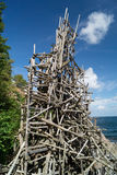 Nimis wooden tower. At Kullaberg Sweden made by driftwood by Lars Vilks Royalty Free Stock Photos