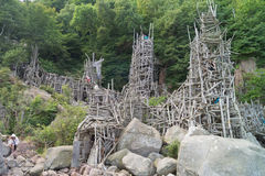 Nimis driftwood tower Royalty Free Stock Photos