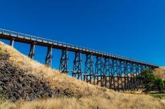 Nimmon's Bridge near Ballarat, Australia. Historic Nimmon's Bridge, a disused wooden trestle railway bridge near Ballarat, Australia stock photo