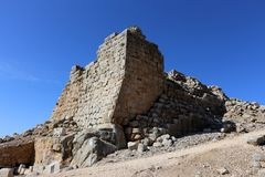 Fortress Nimrod - a castle on the Great Rock in the north of Israel stock images