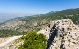 Nimrod Fortress in Israel. Remnants of castle on the Golan Heights near the Israeli border with Syria. The Nimrod Fortress, National Park of Israel, scenery on Stock Photography