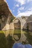 Nimrod Fortress Ruins water reservoir Stock Photo