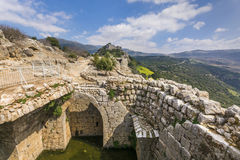 Nimrod Fortress Ruins water reservoir and towers Stock Image
