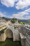 Nimrod Fortress Ruins water reservoir and towers Royalty Free Stock Photos