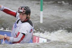 Nina Mozetic nella corsa della tazza di mondo di slalom dell'acqua Immagini Stock