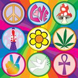 Nine 60s icons on a rainbow background. On three layers for easy separation and editing royalty free illustration