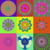 Nine abstract figures. Retro background with nine abstract figures Stock Photos