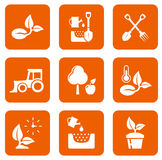 Nine agriculture icons Royalty Free Stock Images