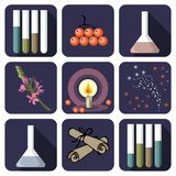 Nine alchemical or perfume icons Stock Images
