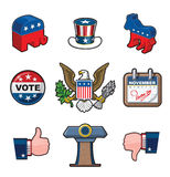 Nine American Elections Icons. American Elections vector icon set. It includes the party symbols, Uncle Sam hat, the Bald Eagle seal, a calendar noting the royalty free illustration