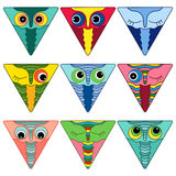 Nine amusing owl faces in triangle shapes Stock Photography