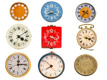 Nine ancient clock dial isolated on white. Nine ancient clock dial collection isolated on white stock photography