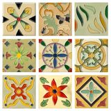 Nine antique flora ceramic brick set Royalty Free Stock Photos