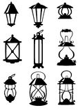 Nine antique lamps. Set of nine antique lamps Stock Illustration