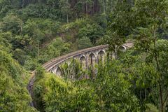 Nine Arches bridge in hill country of Sri Lanka Royalty Free Stock Image