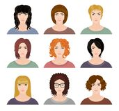 Nine avatars of pretty girls Royalty Free Stock Photography