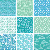 Nine baby boy blue seamless patterns backgrounds Stock Photography