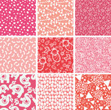 Nine baby girl pink seamless patterns backgrounds. Vector nine baby girl pink seamless patterns backgrounds set with hand drawn elements Royalty Free Stock Photo