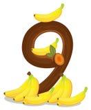 Nine bananas. Illustration of the nine bananas on a white background Stock Image