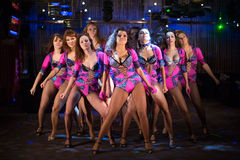 Nine beautiful showgirls in purple costumes posing. On stage royalty free stock photography