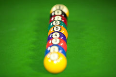 Nine billiard balls Royalty Free Stock Image
