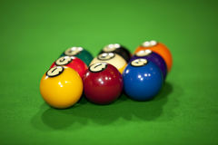 Nine billiard balls Stock Images